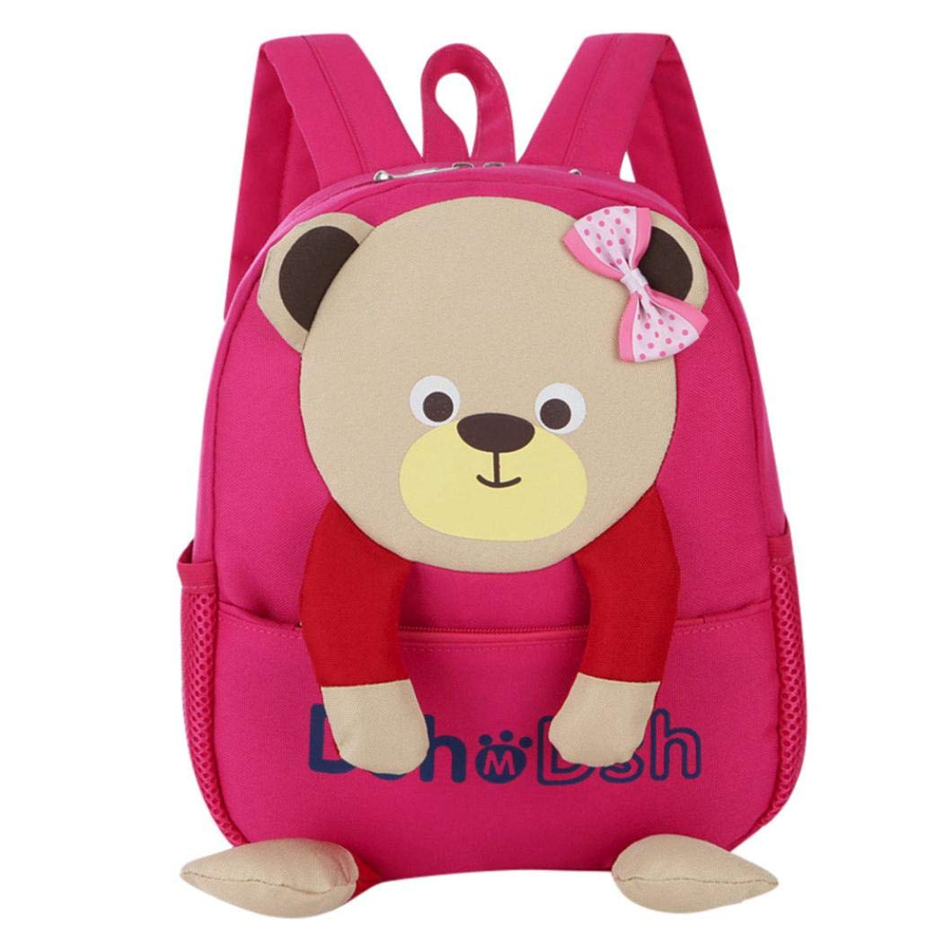 Amazon.com   Vacally Baby Boys Girls Kids Bookbag Cute Bear Pattern Cartoon  Backpack Toddler School Bags (Hot Pink)   Pet Supplies 6abd9caa27369