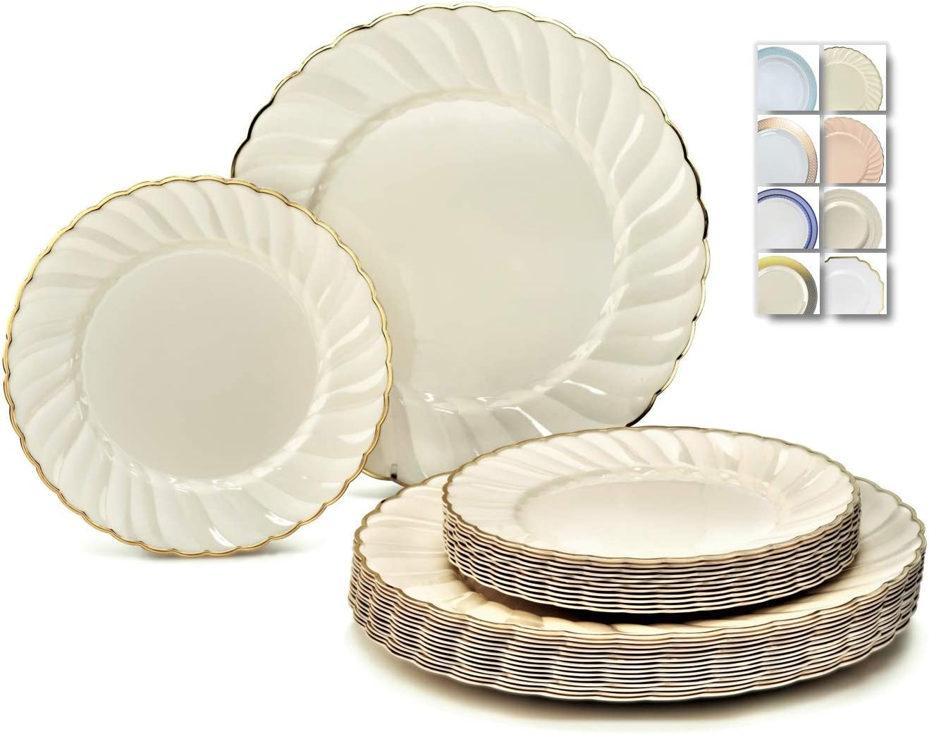 """"""" OCCASIONS """" 240 Plates Pack,(120 Guests) Vintage Wedding Party Disposable Plastic Plates Set -120 x 10.25'' Dinner + 120 x 7.5'' Salad / Dessert (Blossom Ivory / Gold)"""