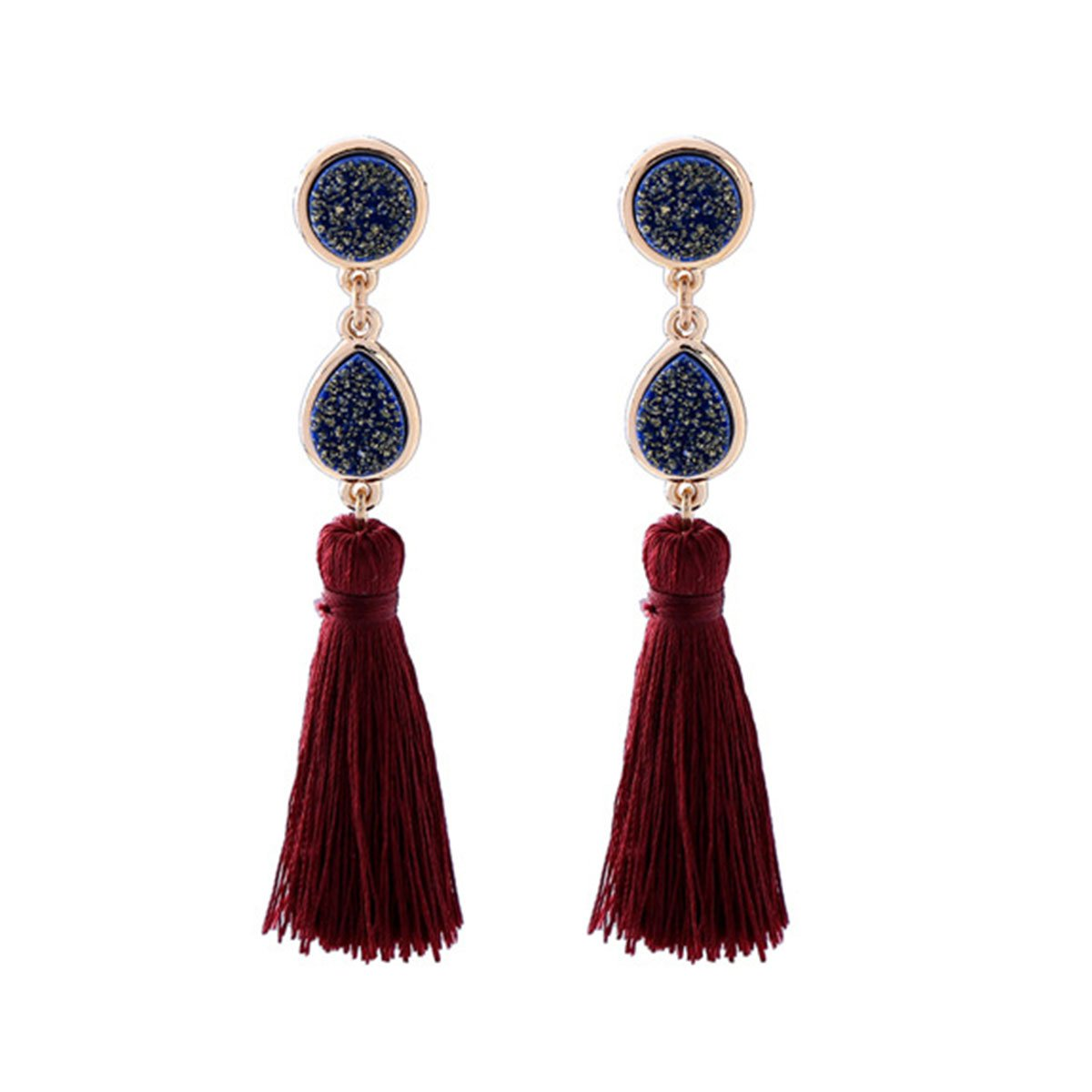 Women Vintage Earring Hollow Crystal Tassel Dangle Stud Earrings (Wine Red)