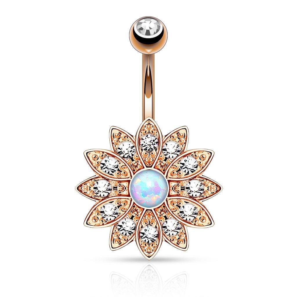 Inspiration Dezigns 14G Paved Crystal Flower with Synthetic Opal Center Navel Ring 316L Surgical Steel