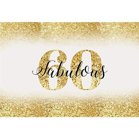 Cassisy 3x2m Vinilo Cumpleaños Telon de Fondo 60 cumpleaños Bandera Dorado Resplandecer Fondo de Pantalla de Lentejuelas Fondos para Fotografia Party ...