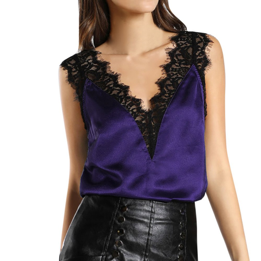 TWGONE Open Back Shirts For Women Clubwear Lace Vest Top Sleeveless Tank Blouse Summer T-Shirt(X-Large,Purple)