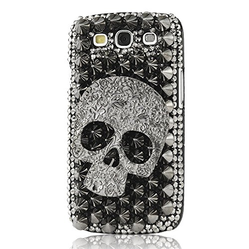 Samsung Galaxy Express 3 Case, STENES [Luxurious Series] 3D Handmade Shiny Crystal Bling Case with Retro Bowknot Anti Dust Plug – Punk Big Skull / Bla…