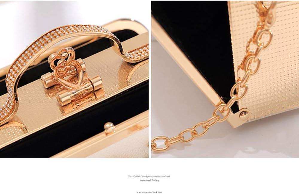 Wuxingqing-Bag Borsa da Sera Borsa da Sera da Donna con Fiore in Rilievo Retro con Perline da Sposa Borsa da Sposa con Manico per Le Donne Data del Matrimonio (Color : Black) Gold