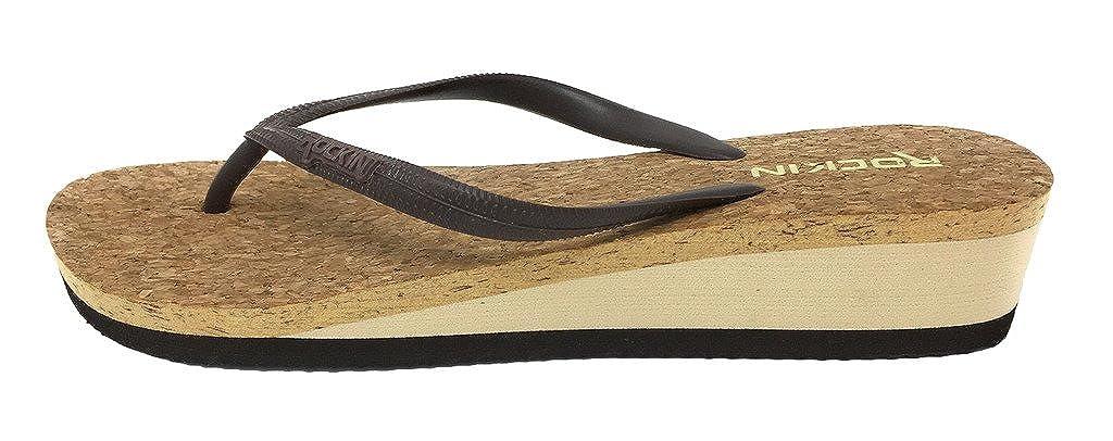 Rockin Women's Low Wedge Cork Thong Sandal, Dark Brown, size 7 B01MZEBVKY Parent