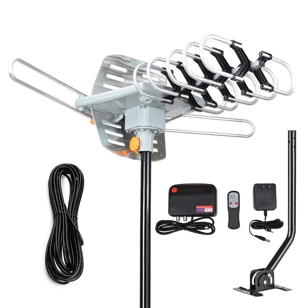 2019 Version Outdoor Amplified Digital HDTV Antenna - 150 Mile Motorized 360 Degree Rotation- TA Amplified HD TV Antenna for 2 TVs Support UHF/VHF 4K 1080P Channels Wireless by PACOSO