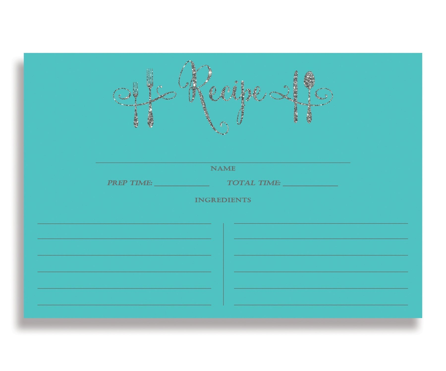 Tiffany Blue Recipe Cards (Set of 15) 4x6 inches. Double Sided Thick Card Stock Elegant Turquoise Blue and Silver Glitter Calligraphy Recipe Cards | Mila Tiffany