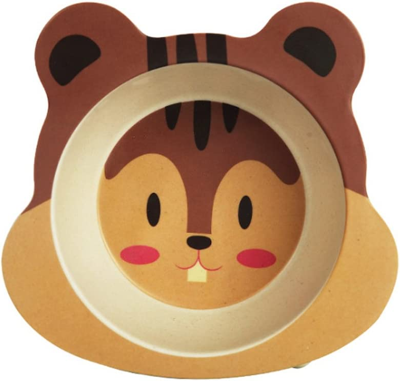 Ndier–Cuenco para arroz (Fibra de Bambú, Cuenco Utensilios Dibujo Animado Animal Reverso Antideslizante para pequeños niños Chicos Chicas