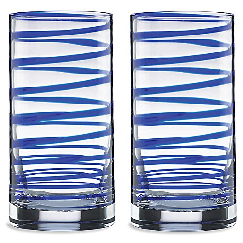 Kate Spade New York 857794 Charlotte Street highball glass, Blue by Kate Spade New York