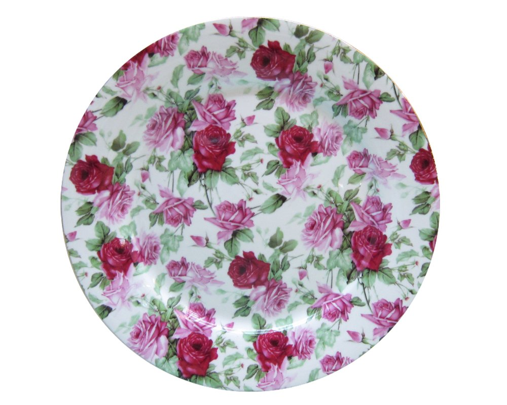 Gracie China Rose Chintz Porcelain 8-Inch Dessert Plate Set of 4, Assorted Four Designs by Gracie China by Coastline Imports (Image #2)