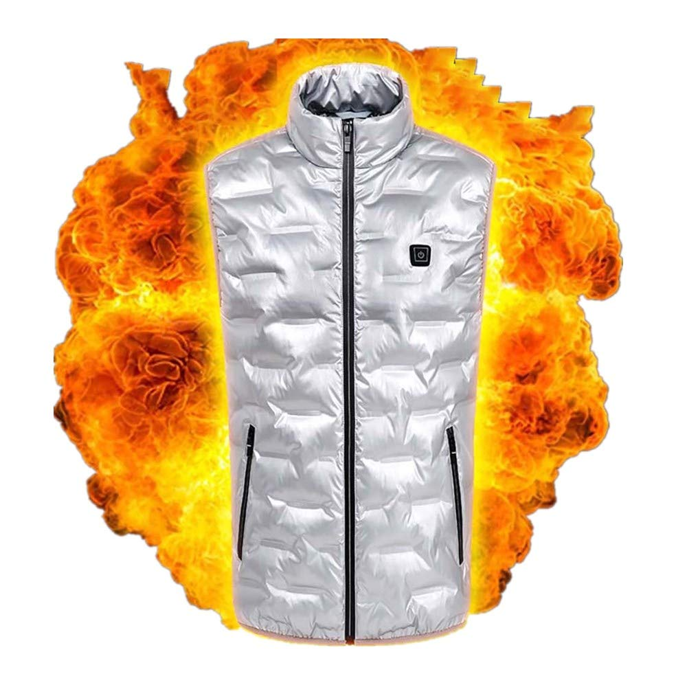 Outdoor Warm Jacket for Men Smart USB Electric Heating Vest Winter Hiking Waistcoat (XXL, Silver) by Moxiu Men's Coat
