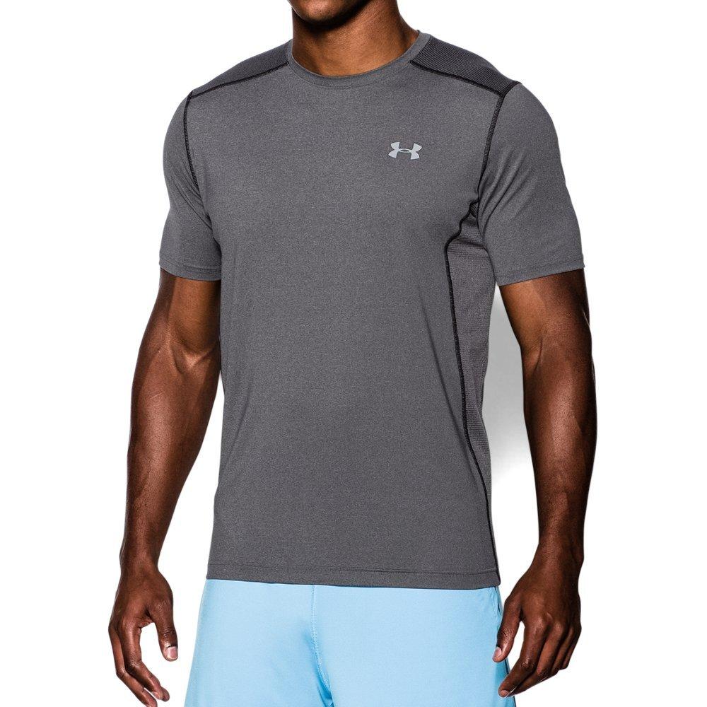Under Armour Men's Raid Short Sleeve T-Shirt, Carbon Heather (090)/Steel, Medium