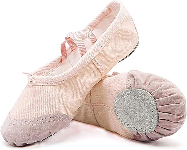 Amazon.com: DoGeek - Zapatillas de ballet de lona para niñas ...