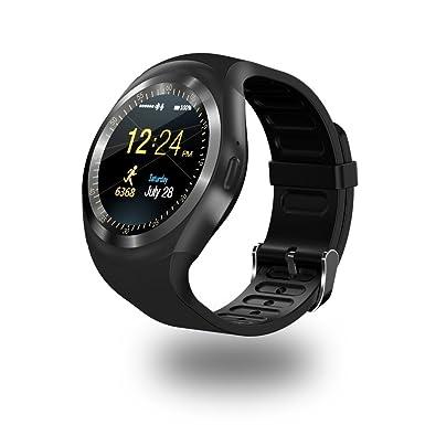 Efanr Y1 redondo Bluetooth reloj inteligente, pantalla táctil desbloqueado teléfono reloj de pulsera podómetro PULSÓMETRO