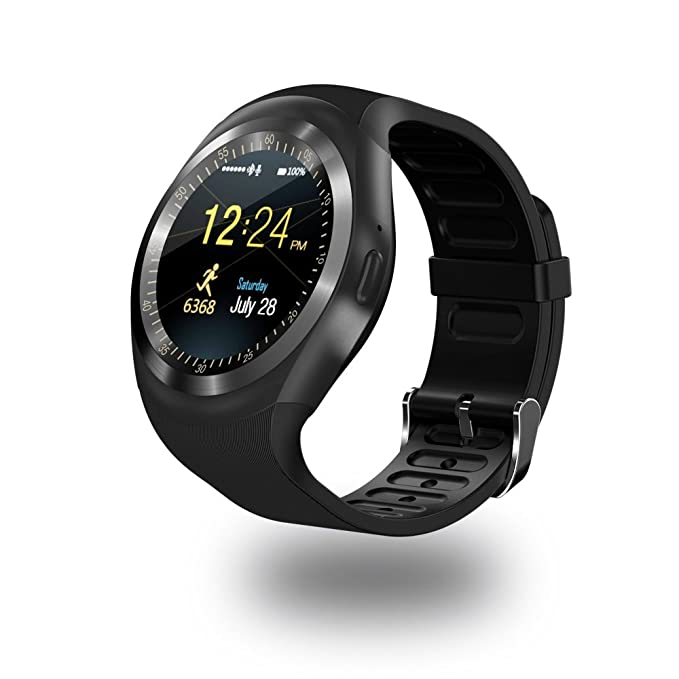 Amazon.com: Efanr Y1 Round Bluetooth Smart Watch, Touch ...