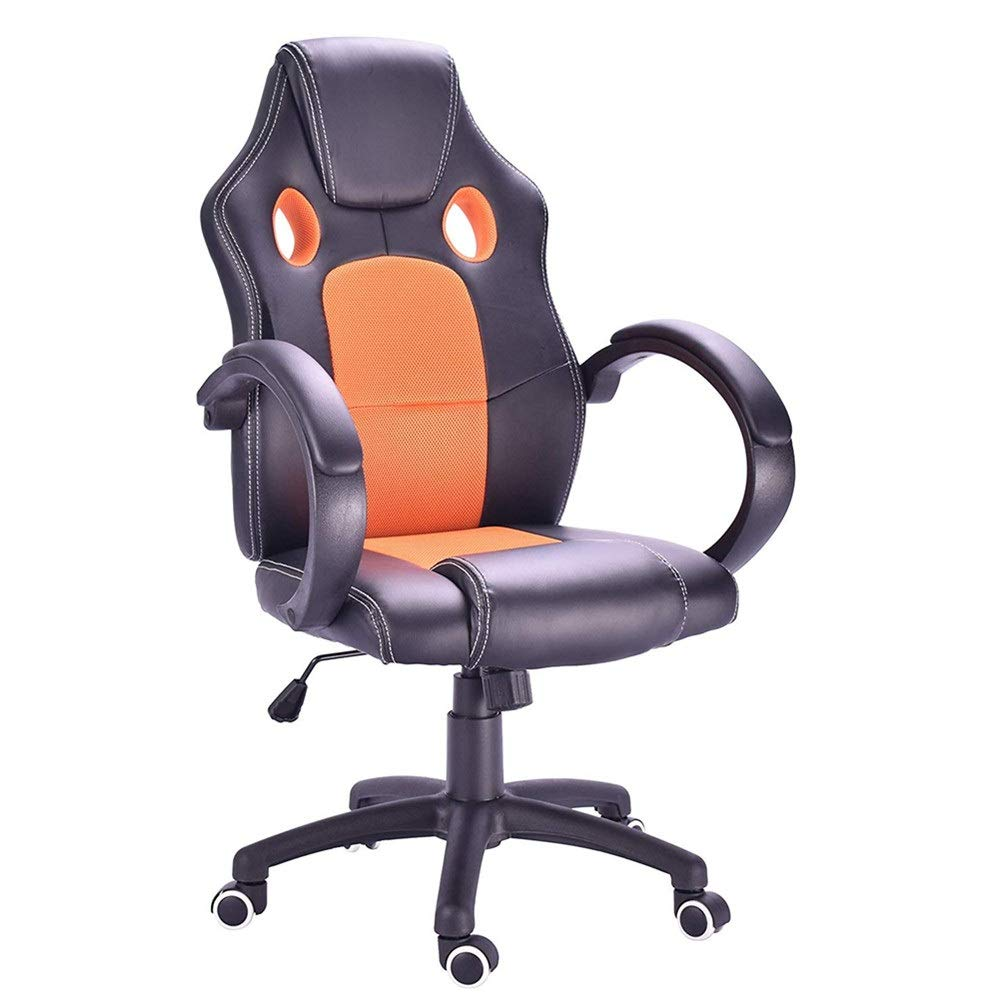 Jeterndy Office Chair Swivel PU Leather Office Chair Computer Reclining Chair High Back with Lumbar Cushion Height Adjustable (Color : Orange, Size : Free Size)
