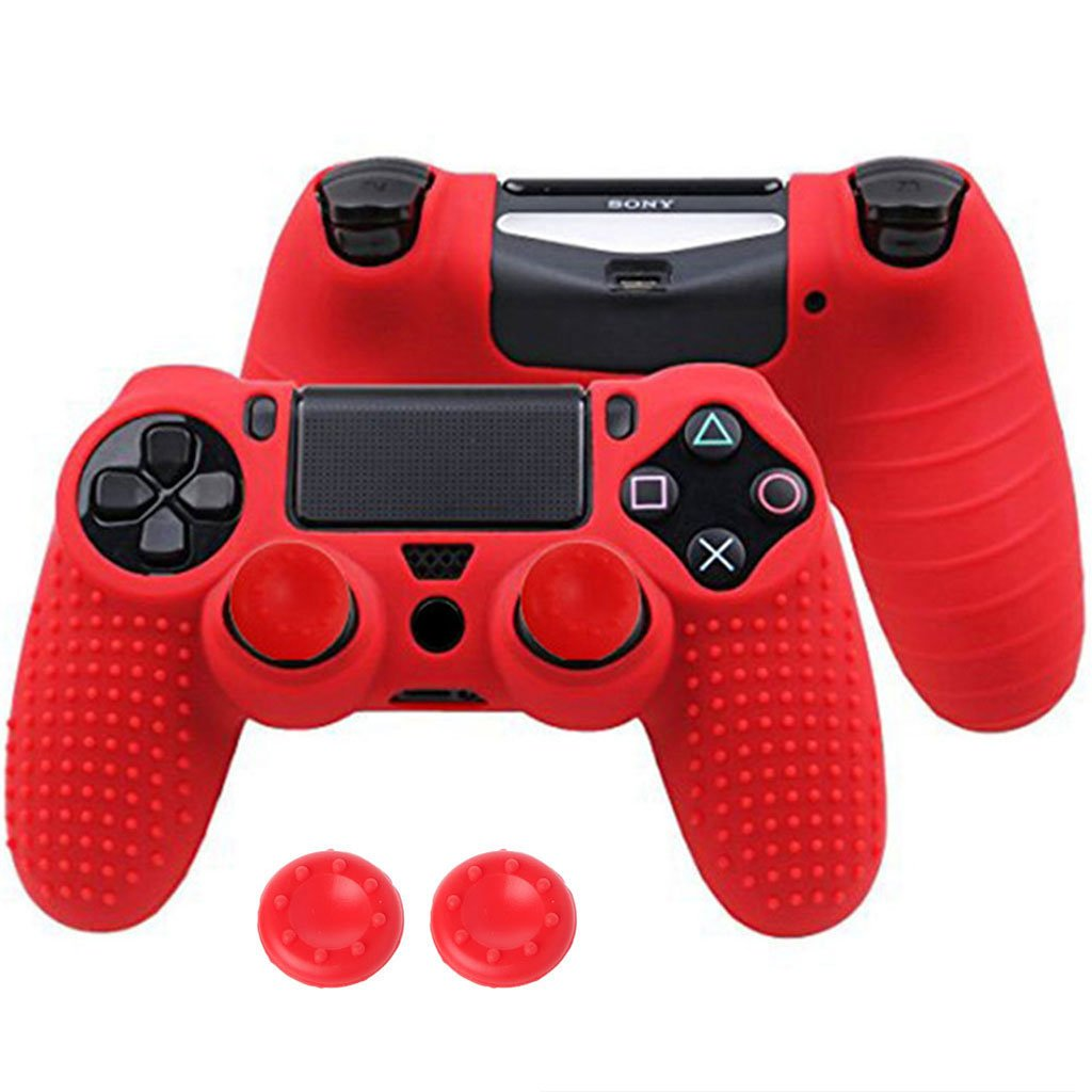 Yuuups PS4 Controller Skin, Grip Anti-Slip Silicone Cover Protector Case for Sony Playstation 4/PS4 Slim/PS4 Pro Wireless/Wired Gamepad Controller with 2 Thumb Grips (Blue) (Red)