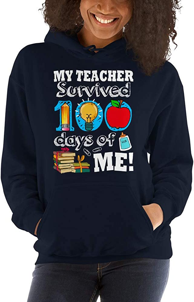 TEEPOMY My Teacher Survived 100 Days of Me Funny Unisex Hoodie