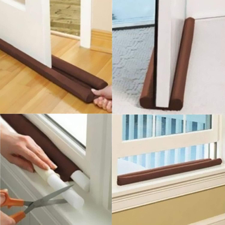 Twin Door Draft Dodger Guard Stopper Energy Saving Protector Doorstop Decor Q0N9
