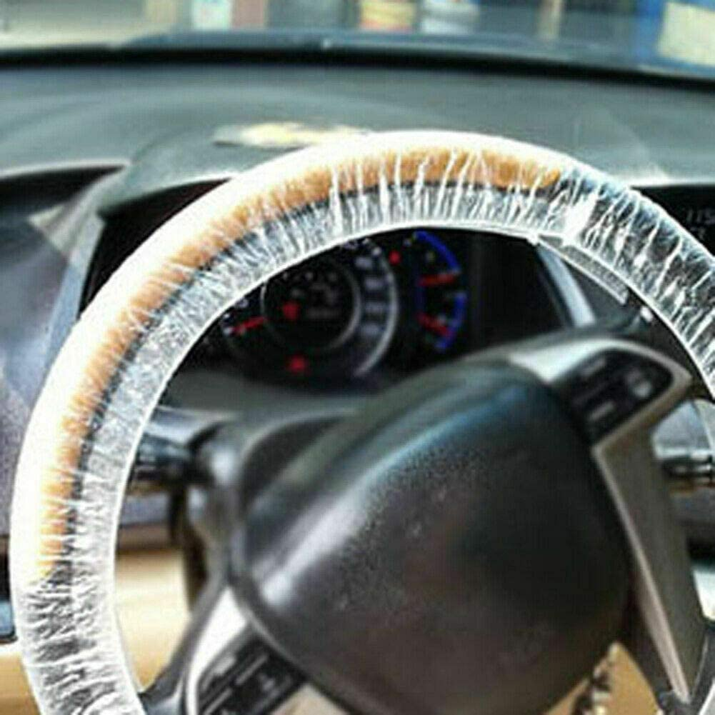100//500Pcs Universal Disposable Steering Wheel Cover 500 pcs White Plastic Disposable Car Steering Wheel Covers Films