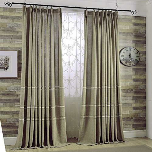 KoTing Home Fashion Natural Linen Classic Retro Little Flower Embroidery Curtains Drapes Grommet Top,1 Panel,72 by 96-Inches