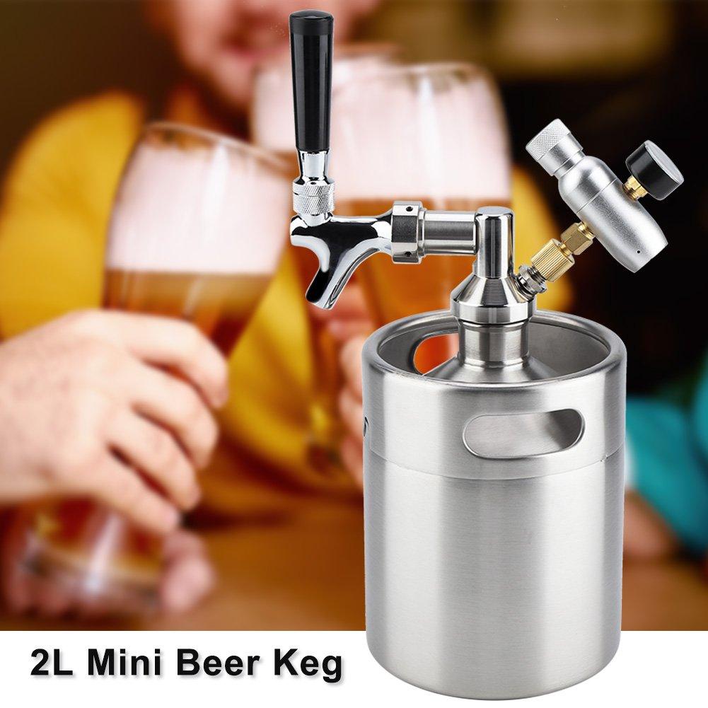 2L Sistema de cerveza casero Sistema de dispensación de cerveza artesanal, con regulador de presión de CO2 mantiene la carbonatación para el barril de ...