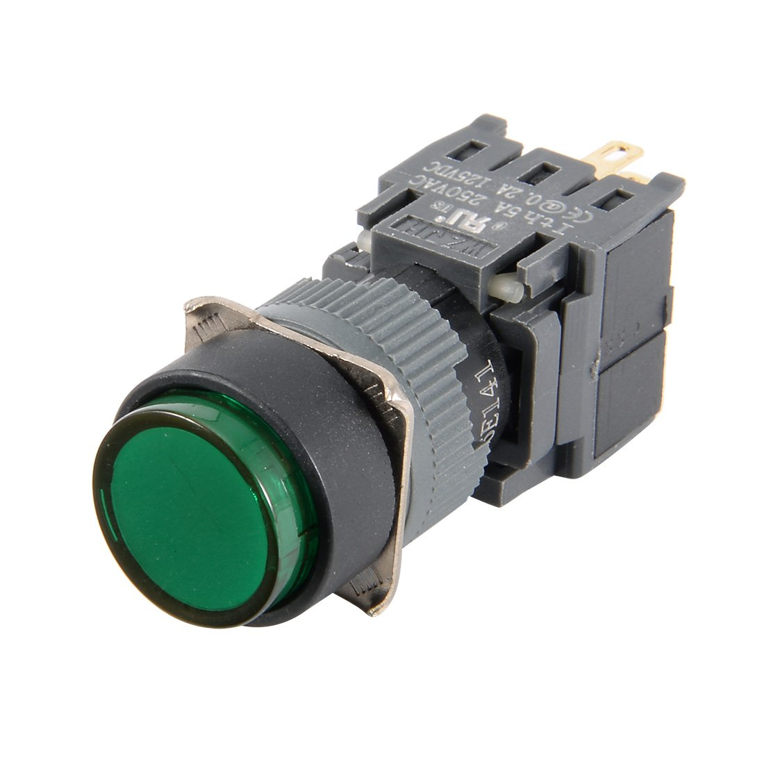 sourcing map DC 125V: 0, 2A SPDT NA NC 4 perno momentaneo rotondo verde interruttore a Bottone a17031000ux0117