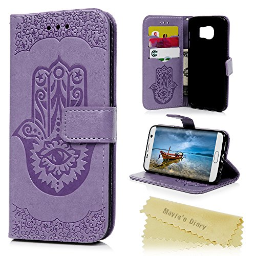 S7 Edge Case, Mavis's Diary Embossed Hamsa Hand of Fatima Thin Wallet Card Cash Holder PU Leather Case Shockproof TPU Inner Wrist Strap Stand Magnetic Flip Cover for Samsung Galaxy S7 Edge, Purple - Hamsa Leather