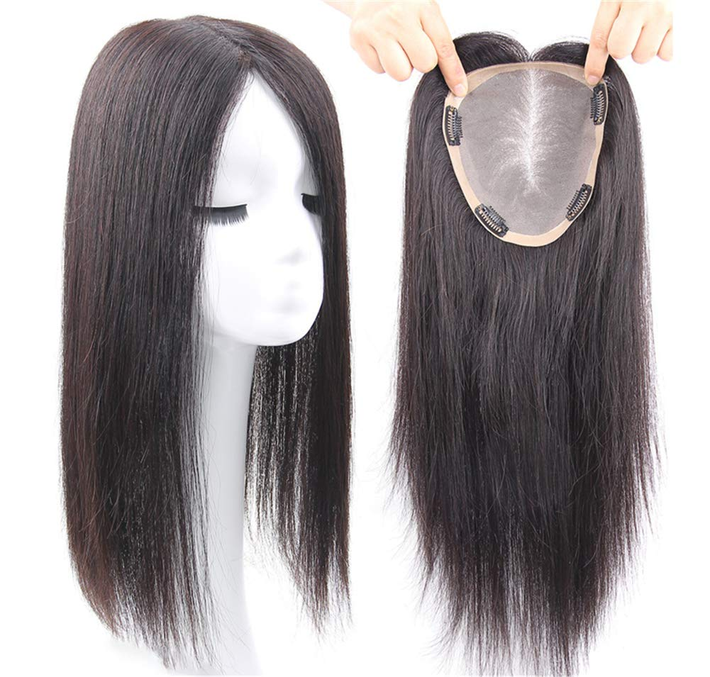 Free Parting Human Hair Clip in Toppers for Women, 6''x 6.7'' Large Mono Crown Topper Hairpieces for Thinning Hair, 16'' Dark Brown by Susanki (Image #3)