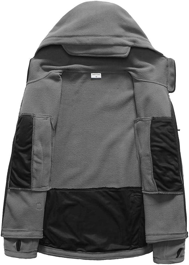 CARWORNIC Mens Military Tactical Fleece Jacket Warm Many Pockets Outdoor Hooded Coat