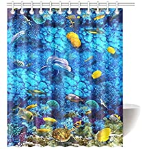 Sea Turtle Underwater Waterproof Bathroom Decor Fabric Shower Curtain  Polyester 60 X 72 Inches