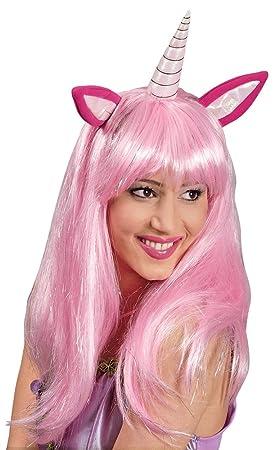 Peluca larga rosa unicornio mujer - Única