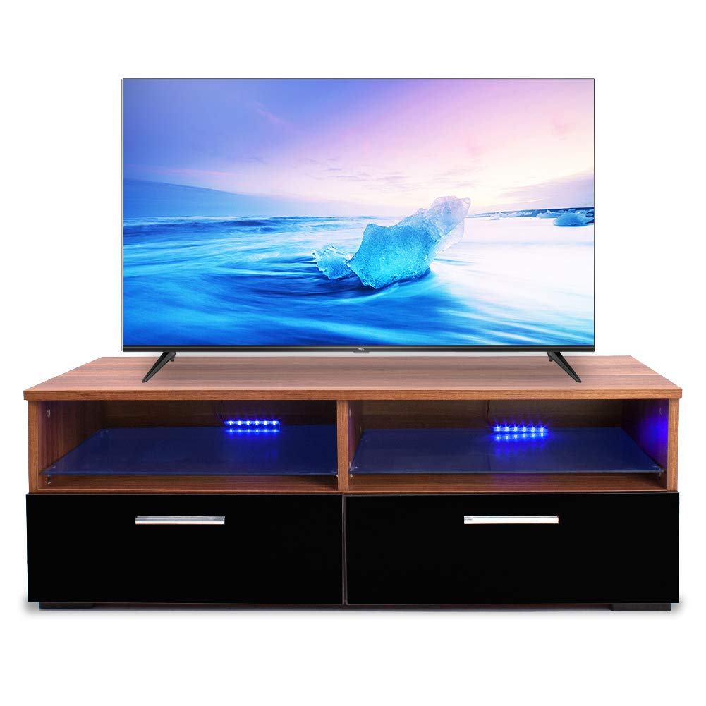 Alpha Conception Modern TV Stand 2 Glass Shelves 2 Drawers Cabinet Console Furniture with LED Light Black Walnut