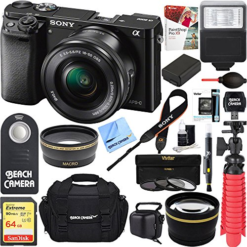3MP Wi-Fi Mirrorless Digital Camera + 16-50mm Lens Kit (Black) +64GB SD Card + DSLR Photo Bag + Extra Battery+Wide Angle Lens+2x Telephoto Lens+Flash+Remote+Tripod Executive Bundle ()