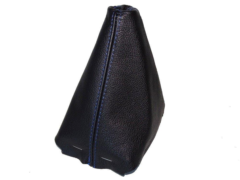Pomello del cambio con cornice in plastica nera in vera pelle blu cucitura The Tuning-Shop Ltd