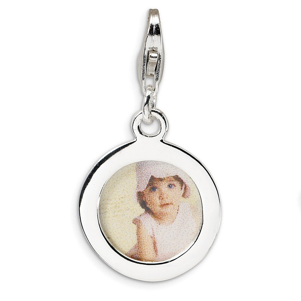 Sterling Silver Polished Circle Frame w//Lobster Clasp Charm