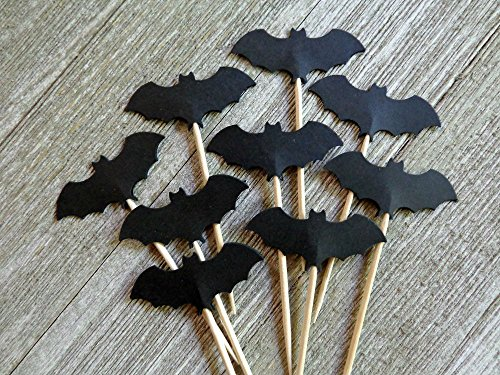 Black Bat Cupcake Toppers - Party Picks - Food Picks (Set of - Picks Vampire