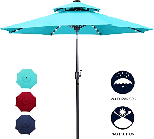 Diophros 10ft 2 Tiers Solar Patio Umbrella with LED Light, Outdoor Market Umbrella 32 LED Lights W Double Vented Umbrella with Auto-tilt System and Simple Crank Operation Lake Blue