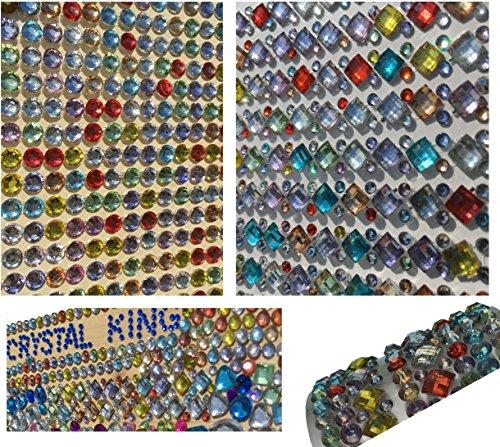 1380 Stück glitzernde Strasssteine selbstklebend rund + eckig quadratisch bunt rund basteln Gltzersteine Schmucksteine viereckig Strass Steine zum Verzieren von CRYSTAL KING