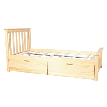 Max Lily Solid Wood Twin Size Bed With Under Bed Storage Drawers Natural