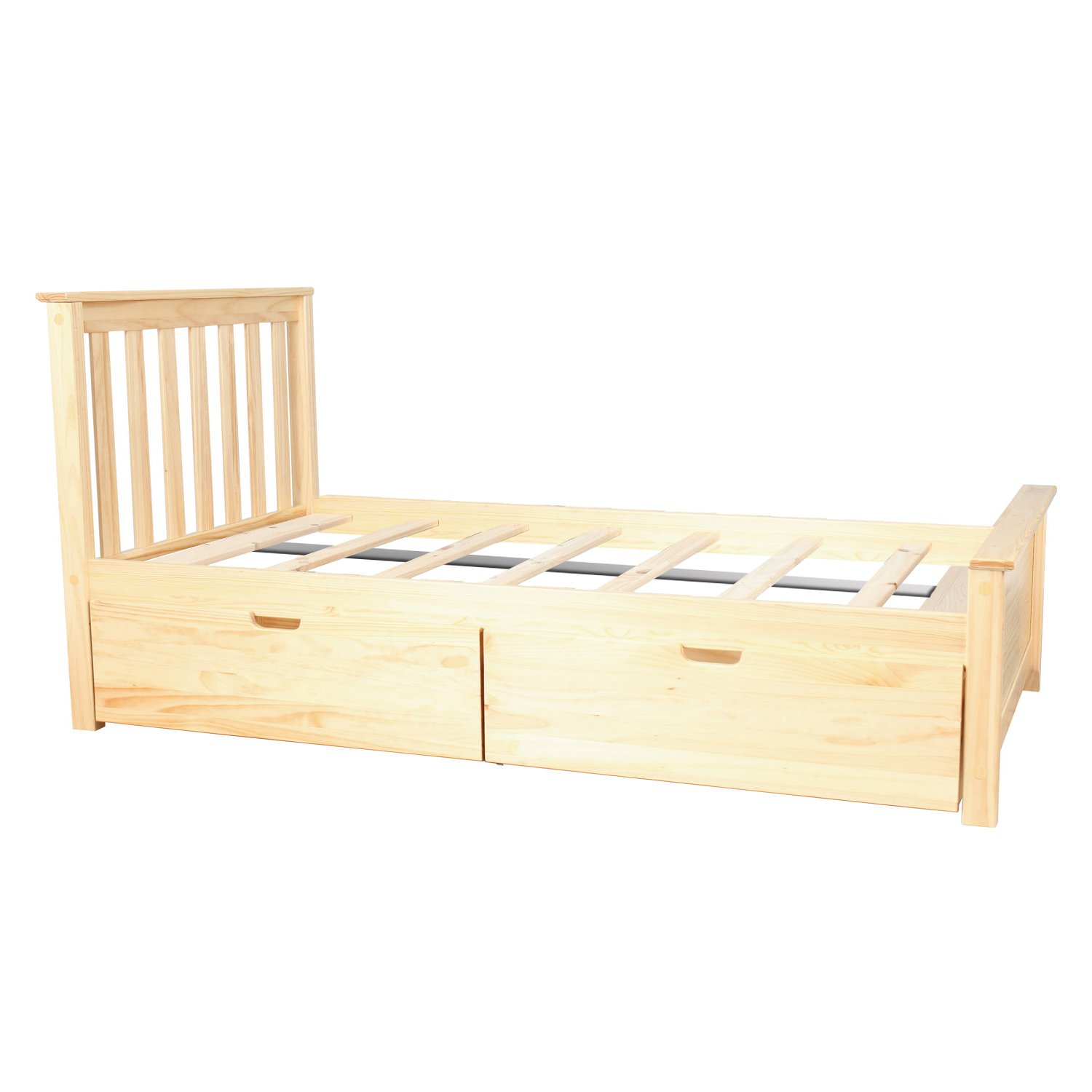 Max & Lily Solid Wood Twin-Size Bed with Under Bed Storage Drawers, Natural