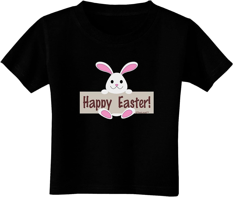 TooLoud Cute Bunny Happy Easter Toddler T-Shirt Dark