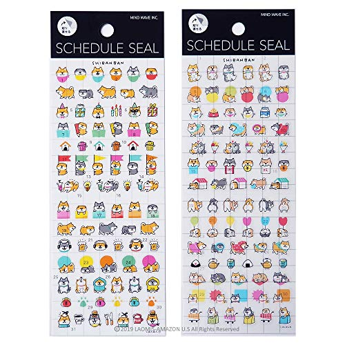 Mind Wave Japanese Dogs Clear Mini Schedule Planner Stickers Sheets/Shiba Pack of 2 [ 78865/79355 ]