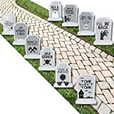 Funny Tombstones - Graveyard Lawn Decorations - Halloween Yard Decorations - 10 Piece