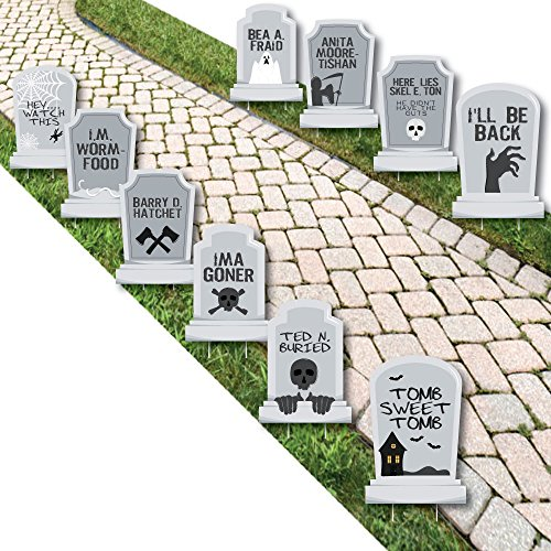 Funny Tombstones - Graveyard Halloween Yard Decorations - 10 Piece
