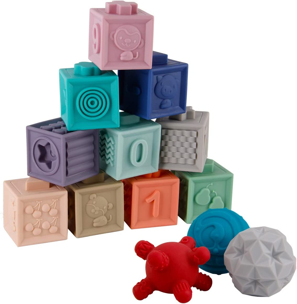 BOBXIN 15PCS Soft Building Blocks Baby Blocks Textured Sensory Ball Set Teething Chewing Toys Baby Bath Toys Squeeze Play with Numbers, Shapes, Animals, Fruit and Textures Toy for 8 Months Toddlers
