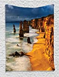 Ambesonne Seaside Decor Collection, Twelve Apostles Australia Sunset Great Ocean Road Coast Cliff by Sea Picture, Bedroom Living Room Dorm Wall Hanging Tapestry, Gold Navy
