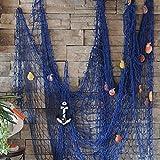 Kyпить KINGSO Mediterranean Style Decorative Fish Net With Anchor and Shells Blue на Amazon.com
