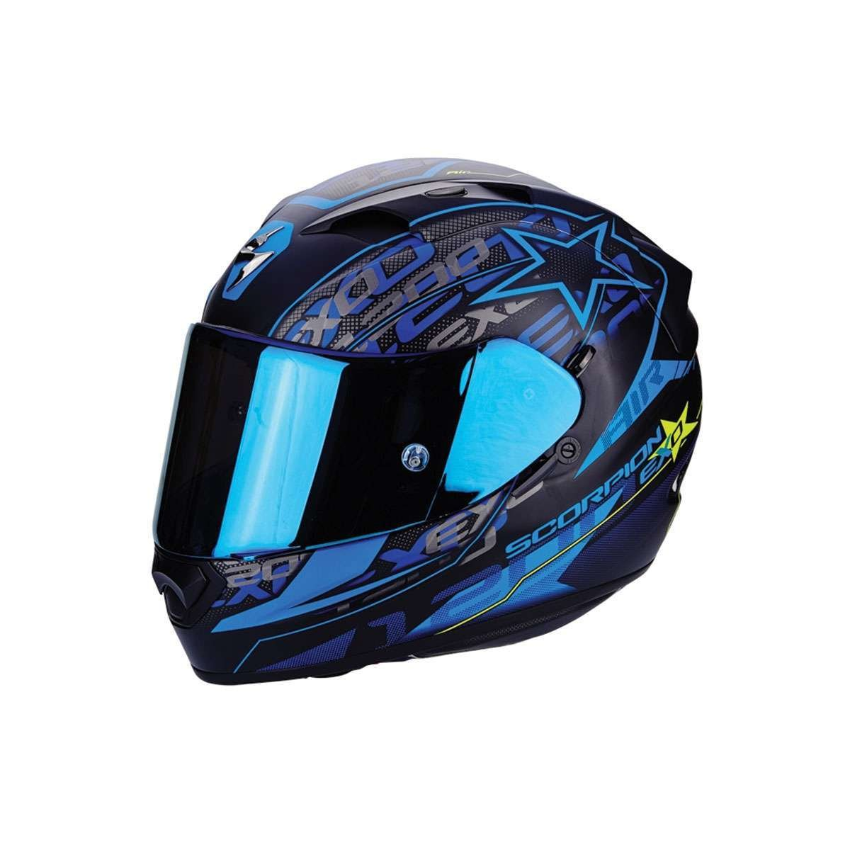 Scorpion EXO-1200 Air Solis - Casco para moto, Matt Black/Blue,