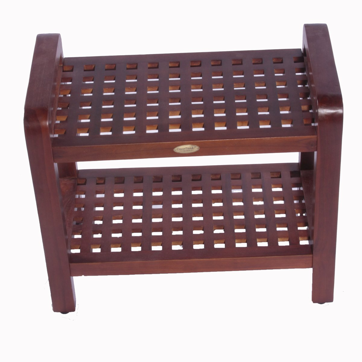 18'' Espalier Teak Lattice Shower Bench with Shelf with Lift Aide Arms- For shower, bath, sauna, living, or outdoors